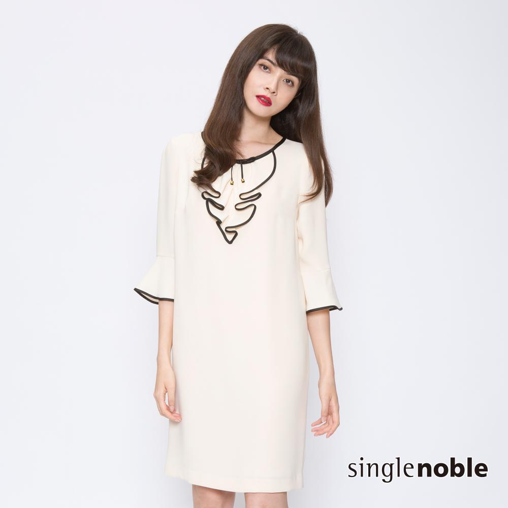獨身貴族 典雅女子滾邊褶花設計洋裝(2色)