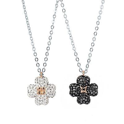 SWAROVSKI 施華洛世奇 雙面雙色黑白晶鑽幸運草造型銀色項鍊
