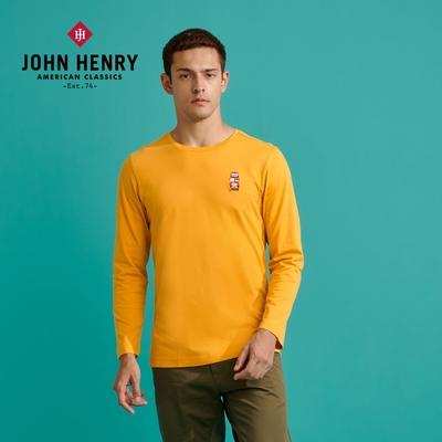 【JOHN HENRY】倫敦雙層巴士刺繡長袖T恤-黃