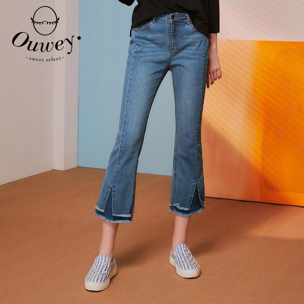OUWEY歐薇 雙層抽鬚開衩微喇叭彈性牛仔褲(藍)3212088617