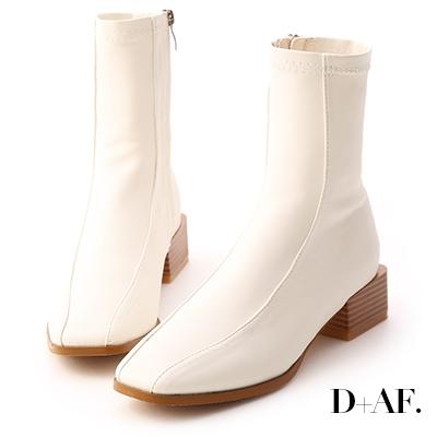 D+AF 美拍風格.雙摺線木紋跟襪靴*米白