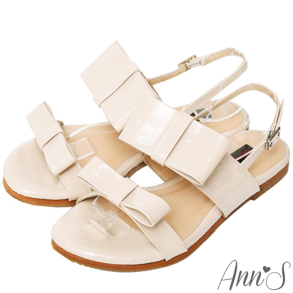 Ann'S甜的氛圍-漆皮大方結平底涼鞋-杏