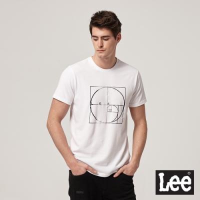 Lee短袖T恤 原規線條圖案 白 男款