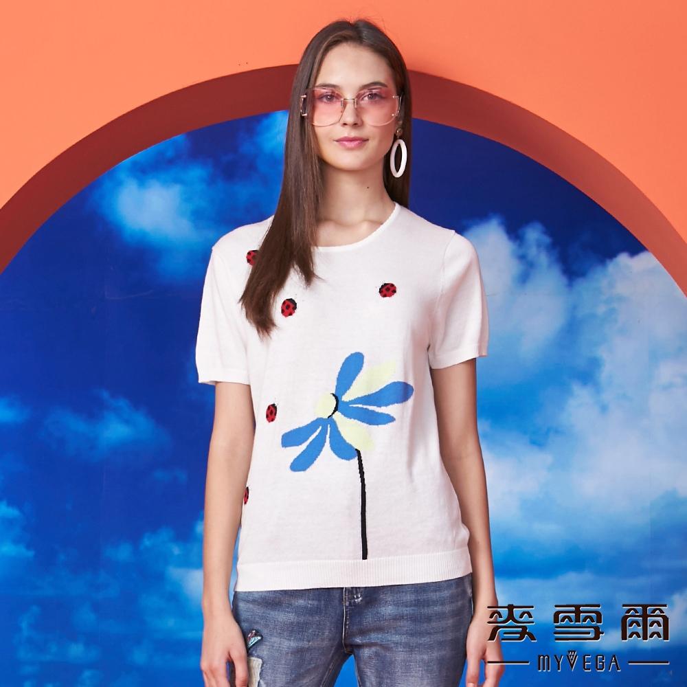 【麥雪爾】純棉花朵小瓢蟲緹花針織杉-白