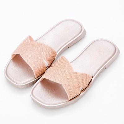 River&Moon防水鞋-交叉亮蔥Q軟方頭涼拖鞋-香檳金