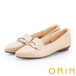 ORIN 嚴選牛皮金屬方扣樂福平底鞋 杏色