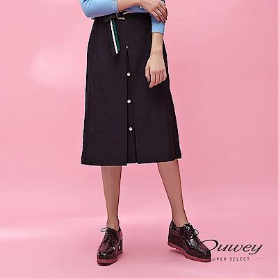 OUWEY歐薇 單排鈕扣造型活動撞色腰帶裝飾中長裙(黑)