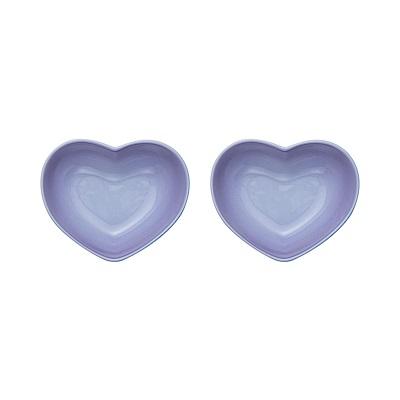 LE CREUSET 瓷器心型盤(小) 2入(粉彩紫)