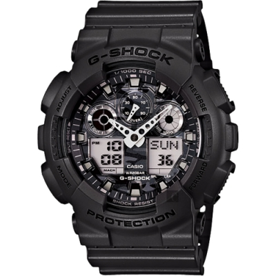 CASIO 卡西歐 G-SHOCK 經典雙顯手錶-迷彩灰(GA-100CF-8A)