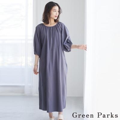 Green Parks 知性圓領抓褶連身洋裝