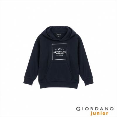 GIORDANO 童裝ADVENTURE連帽T恤 - 62 標誌海軍藍