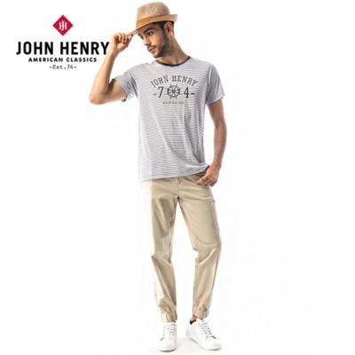【JOHN HENRY】航海船舵條紋短袖T恤-灰色