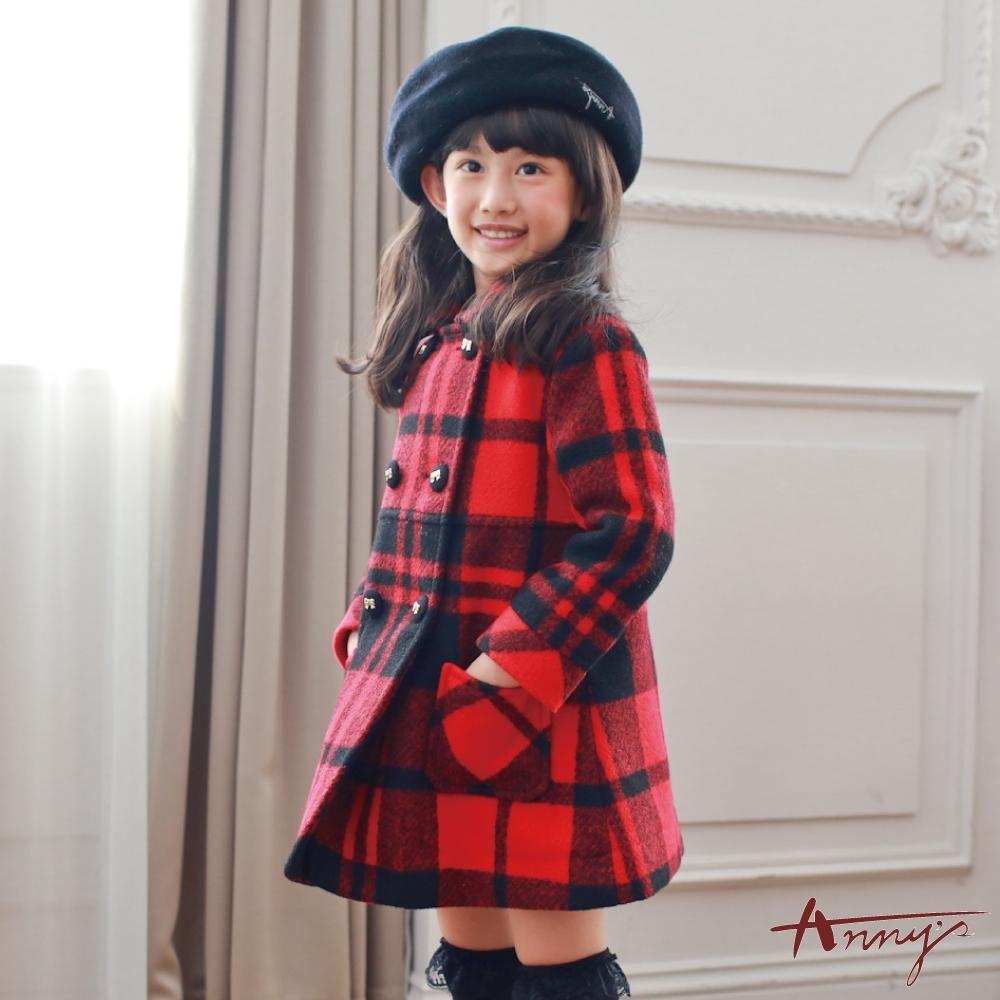Annys安妮公主-英倫格紋秋冬款雙排扣雙口袋大衣*7672紅色