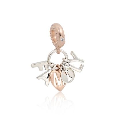 Pandora 潘朵拉 family字母造型 玫瑰金 垂墜純銀墜飾