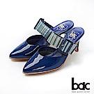 bac紐約不夜城 - 摩登復古漆皮異材質兩截式穆勒鞋 -藍