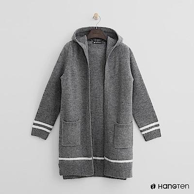 Hang Ten - 女裝 - 雙口袋連帽針織外套-灰