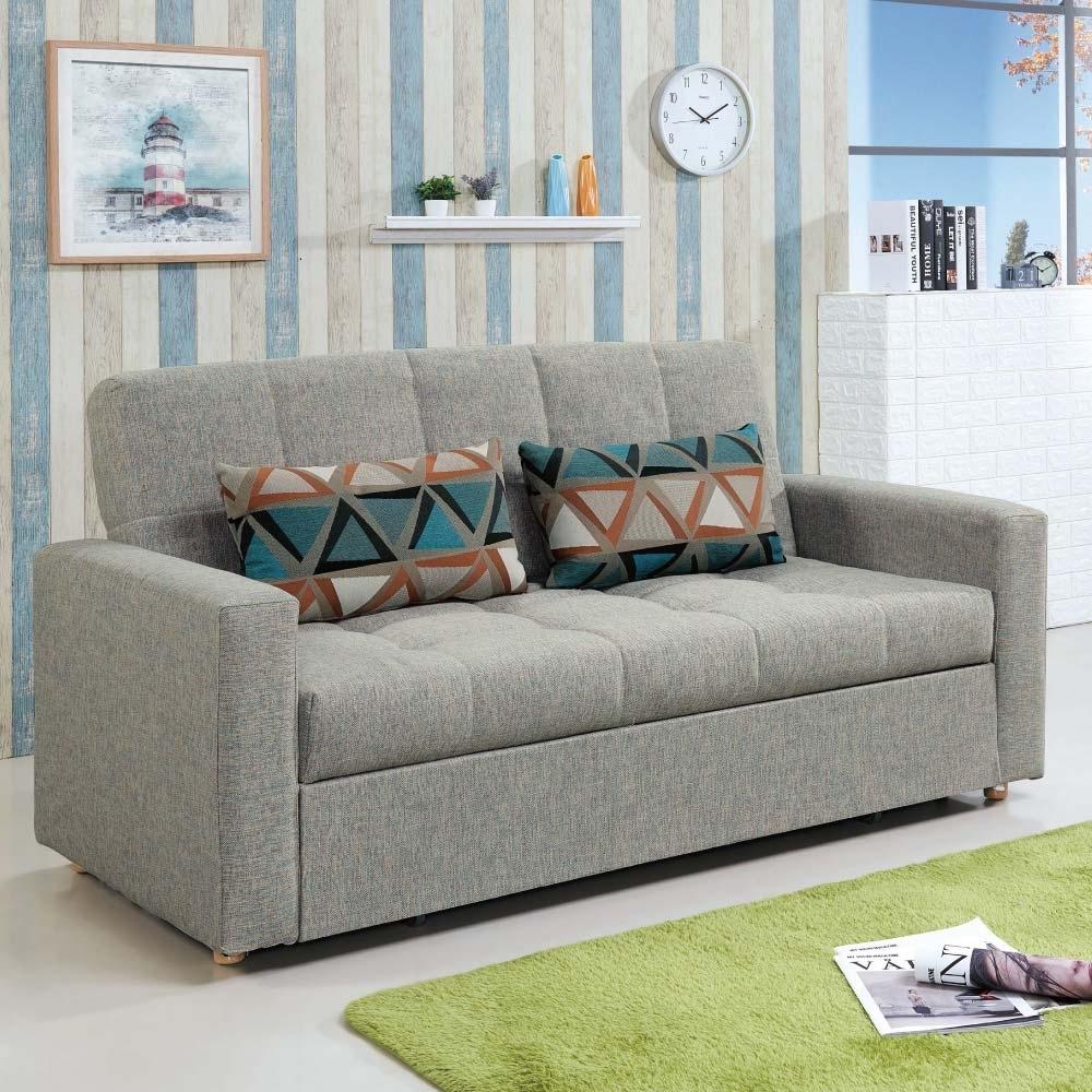 文創集 卡賓娜現代灰棉麻布二人沙發/沙發床(拉合式機能設計)-182x82x94cm免組