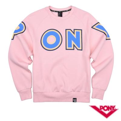 【PONY】長袖運動休閒大學T  情侶款  T恤 中性款 粉紅