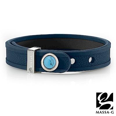 MASSA-G ONLY U唯你天然石鍺鈦手環-品牌革紋(藍)