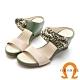 【GEORGE 喬治皮鞋】簡約雙色一字帶楔型拖鞋-芥綠 product thumbnail 1