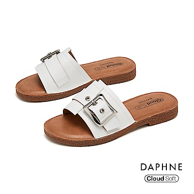 達芙妮DAPHNE 涼鞋-幾何車線拚接皮帶方扣造型舒軟平底拖鞋-白色