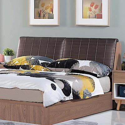AS-蘿拉雙人5尺柚木色皮革床頭箱-152x34x98cm