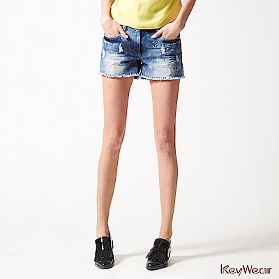KeyWear奇威名品    活潑刷白潑漆牛仔短褲-藍色