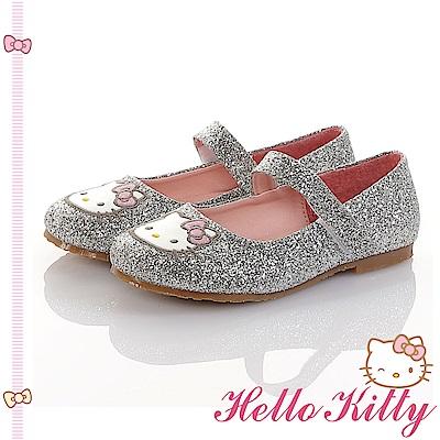 HelloKitty童鞋 傳統手工鞋氣質金蔥真皮娃娃包鞋-銀