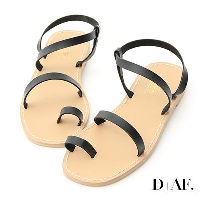 D+AF 簡單美學.一字細帶套指平底涼鞋*黑