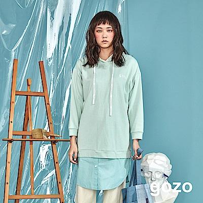 gozo 棉花糖襯衫拼接二件式連帽洋裝(二色)