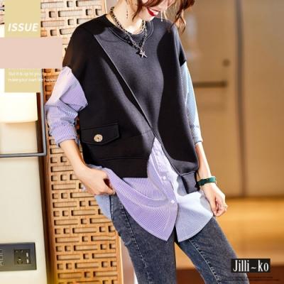 JILLI-KO 假兩件襯衫不規則拼接衛衣- 黑色