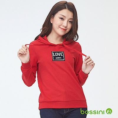 bossini女裝-連帽厚棉上衣02暗紅
