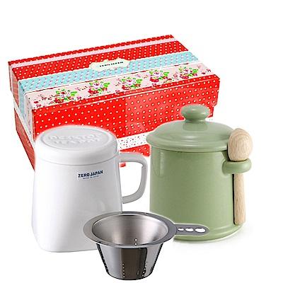 ZERO JAPAN 陶瓷儲物罐(大地綠)+泡茶馬克杯(白)超值禮盒組
