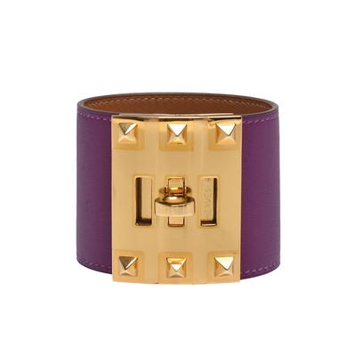 HERMES 經典鉚釘小牛皮寬版手環(紫/金)