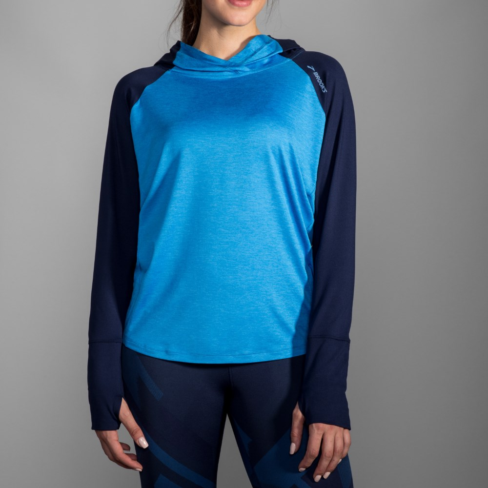 BROOKS 女 奔跑連身帽上衣 海軍藍 (221284402)