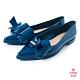 Petite Jolie--立體蝴蝶結尖頭娃娃鞋-湛藍 product thumbnail 1