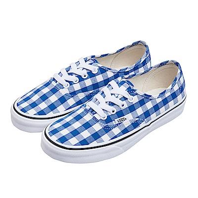 (女)VANS Authentic 格紋綁帶休閒鞋*藍白