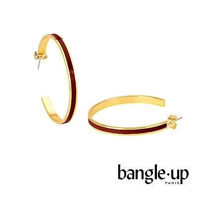 BANGLE UP 復古經典琺瑯鍍金開口耳環 -紅