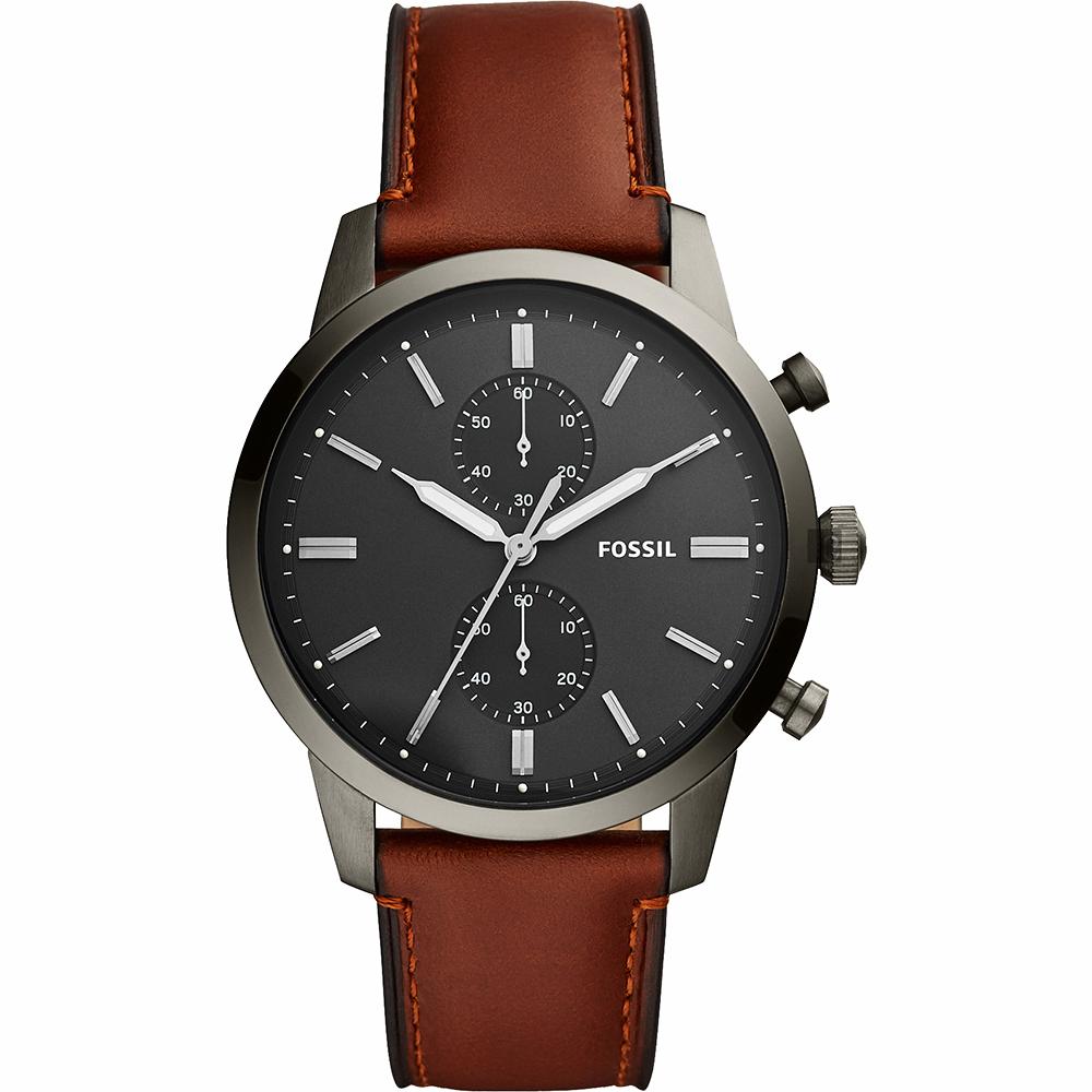 FOSSIL 潮流時尚石英計時手錶(FS5522)-灰黑x咖啡/44mm