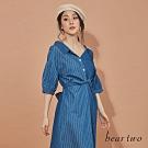 beartwo-剪接造型襯衫洋裝-藍