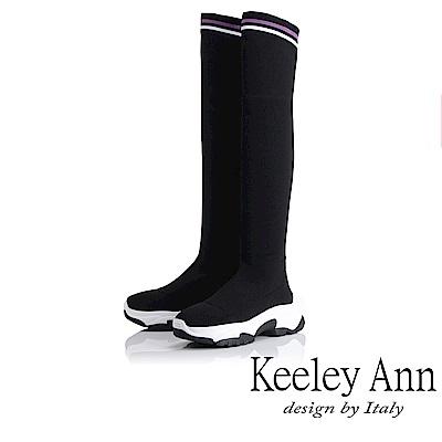 Keeley Ann 率性街頭~休閒透氣彈性布過膝長靴(黑色-Ann)