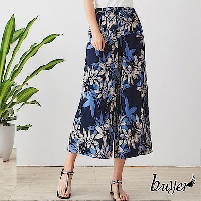 【白鵝buyer】涼感綁帶直紋寬褲(藍彩)