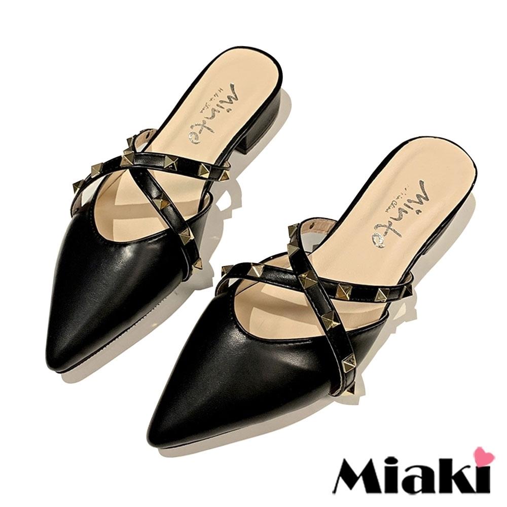 Miaki-穆勒鞋個性韓風尖頭包鞋-黑