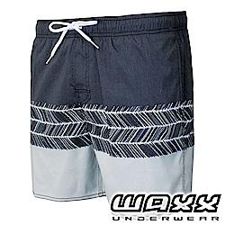 WAXX 衝浪系列-灰色風暴拼接快乾型男海灘褲(15英吋)