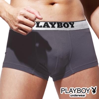 PLAYBOY 低腰LOGO織帶舒柔合身四角褲平口褲-單件-灰