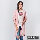 JEEP 女裝 造型圖騰刺繡長版針織外套 -粉色