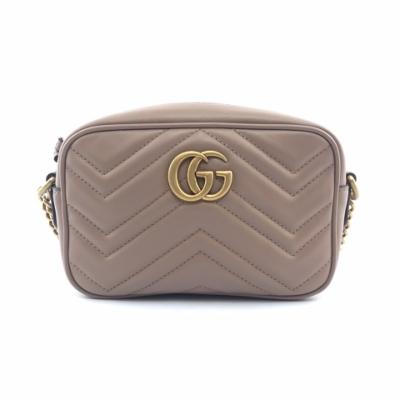 GUCCI GG Marmont Mini 迷你 皮革 山形紋 肩背包 斜背包 相機包 裸粉色 18公分 448065