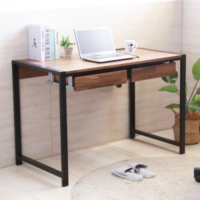 澄境 工業風雙插座附2小抽加粗鐵管書桌/電腦桌/工作桌110x60x75.5cm-DIY