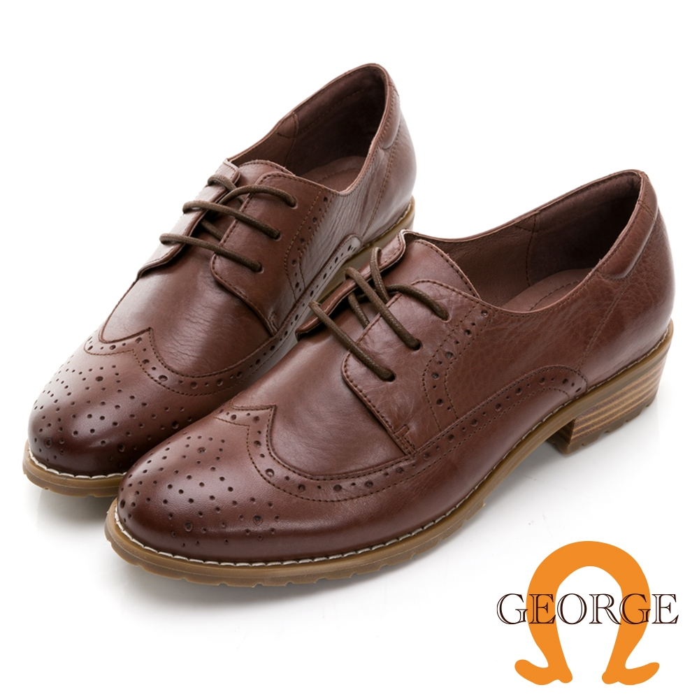 GEORGE 喬治皮鞋 學院風真皮翼紋雕花木紋中跟鞋 -咖 034007JM