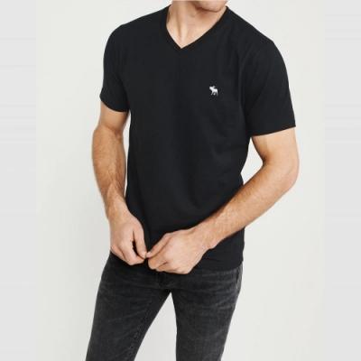 麋鹿 AF A&F 經典V領電繡麋鹿素面短袖T恤(BONL)-黑色